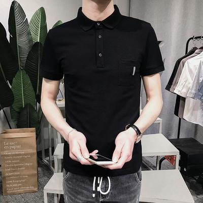 PL102#夏季男士纯色修身短袖翻领POLO衫 P55