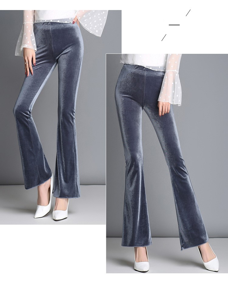 Spring and autumn winter gold velvet micro flared pants Korean slim stretch casual pants trend