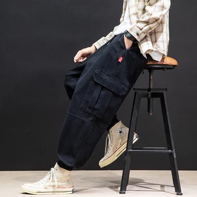 2021春季新款 日系马切达大码工装口袋束脚休闲裤M-5X K2003-P45