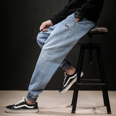 K19906牛仔裤 秋冬日系新款大码哈伦束脚裤(浅蓝)【木板】特P60