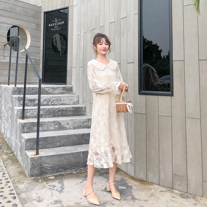 南岛风大码女装秋装新款蕾丝娃娃领连衣裙胖妹妹气质复古显瘦裙子11月08日最新优惠