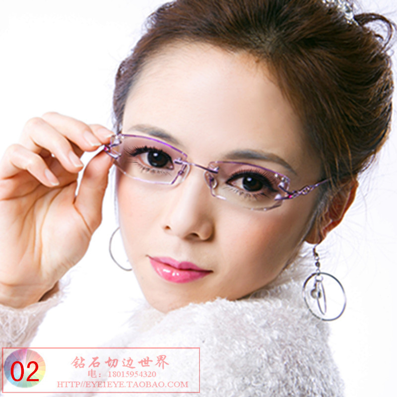 Eyeglass frame female myopia trimming diamond rimless spectacles double hole spectacle frame customized flat myopia old star
