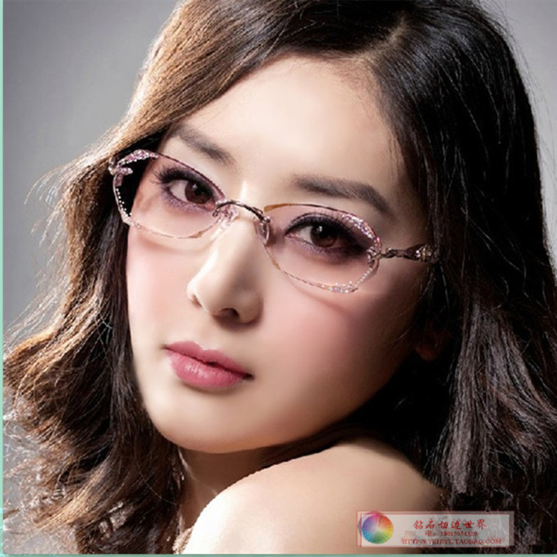 Short sighted glasses frame female net red eyes frameless inlaid diamond with flat light color changing short sighted Sunglasses