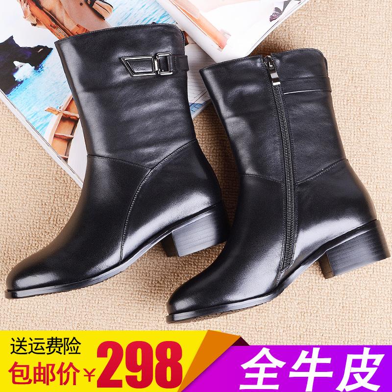冬新款中粗跟真皮圆头侧拉链中筒女靴子牛皮加绒平底大码马丁短靴