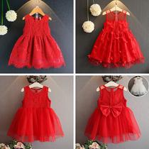 3夏季女童蕾丝大红色连衣裙5网纱公主裙6女宝宝小女孩背心纱裙7岁