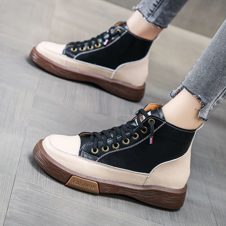 Popular single shoes 2021 spring and autumn new four seasons high top color matching Korean version versatile breathable sports single shoes for women
