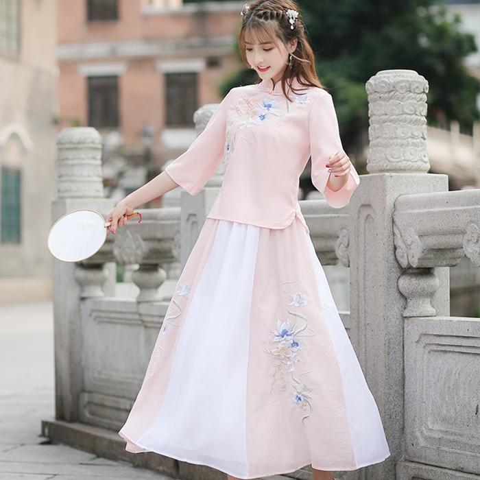 满11元可用2元优惠券2019夏季新款中国风女生民族风修身