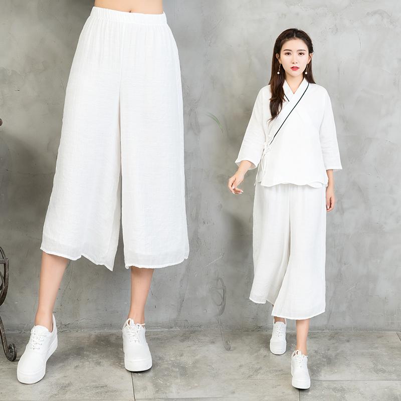 2018夏季新款棉麻阔腿裤女裤子民族风大码女装宽松复古亚麻七分裤