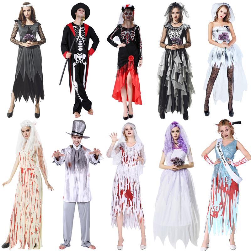 万圣节服装化妆舞会cos成人女巫师服巫婆装扮服装鬼新娘王后套装
