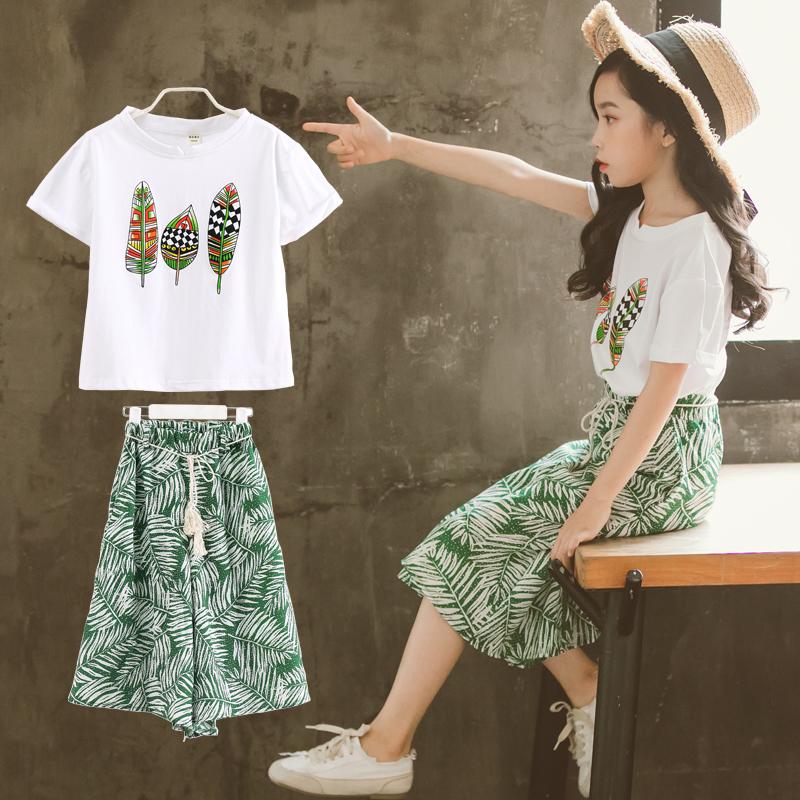 女大童夏装套装2018新款韩版时尚时髦儿童装洋气阔腿裤两件套潮衣