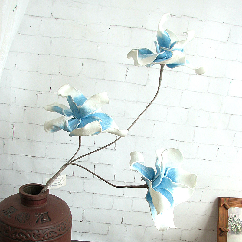 1 yuan parcel post export white blue EVA tropical desert freehand long flower artificial imitation
