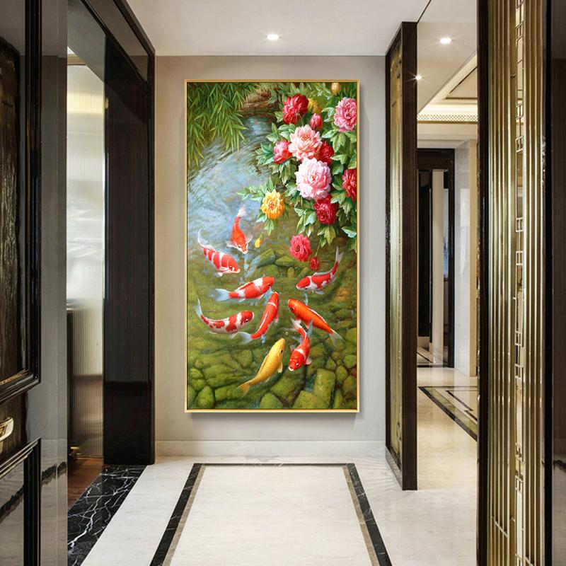 新中式手绘油画牡丹九鱼图年年有鱼玄关走廊美式锦鲤装饰欧式挂画图片