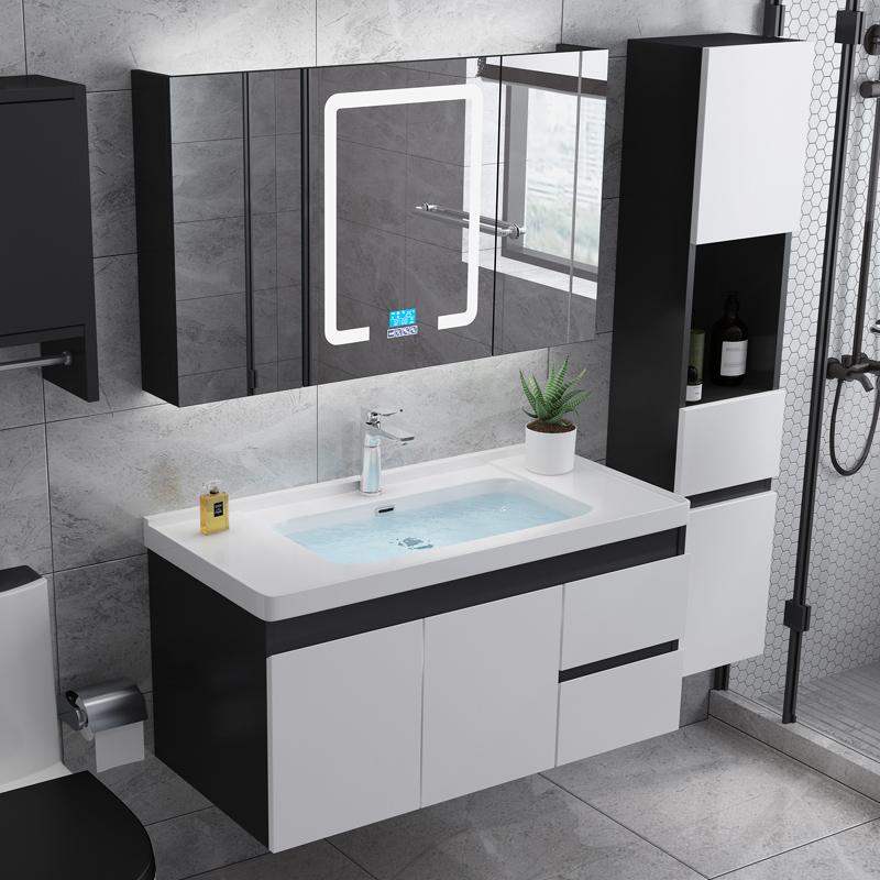 智能北欧橡木浴室柜现代简约卫浴卫生间洗漱台洗手盆洗脸盆柜组合(用75元券)