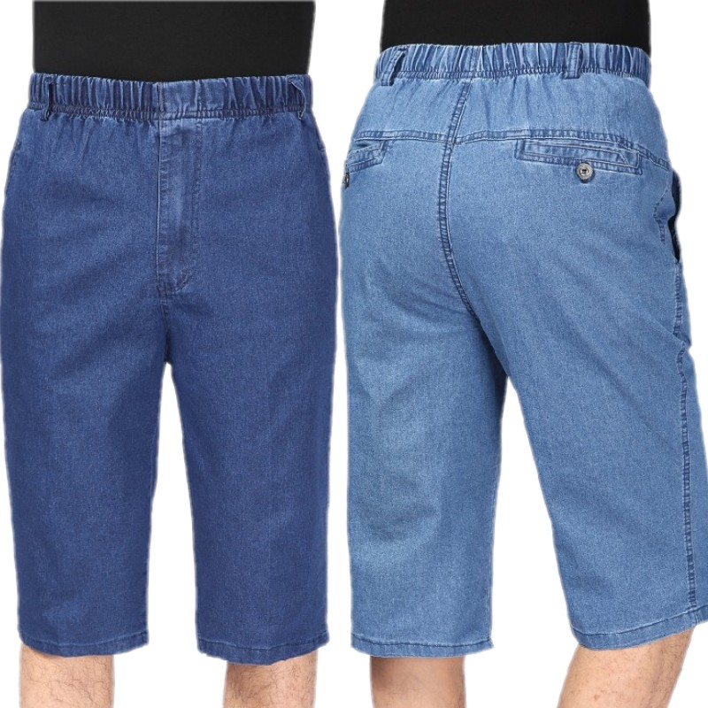 Summer thin middle-aged mens jeans shorts loose middle aged and elderly mens pants dad elastic waist 7-point jeans