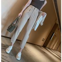 西装外套女春秋垂感高腰阔腿裤正暗纹套装chao时髦ANNAASM