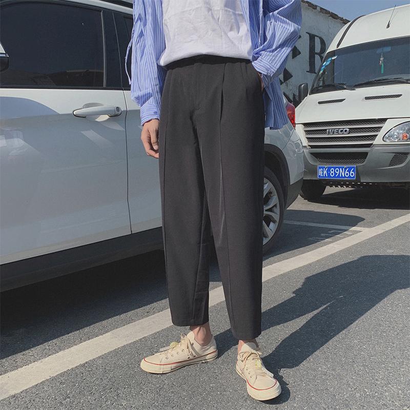 现货春夏港风西装裤九分裤坠感舒适休闲裤哈伦裤 送腰带 K806-P55