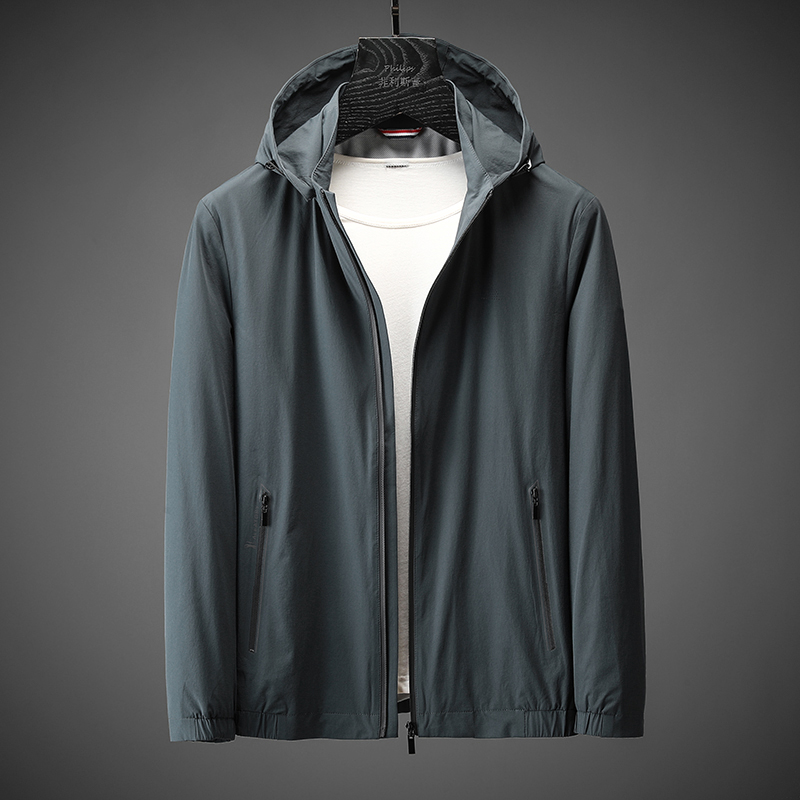 Xiansen famous high elastic silk smooth wrinkle free iron jacket for men thin spring detachable Hooded Coat for men