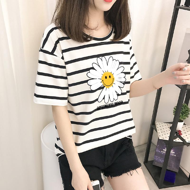 實拍小雛菊花純棉寬松大碼黑白條紋色短袖T恤女