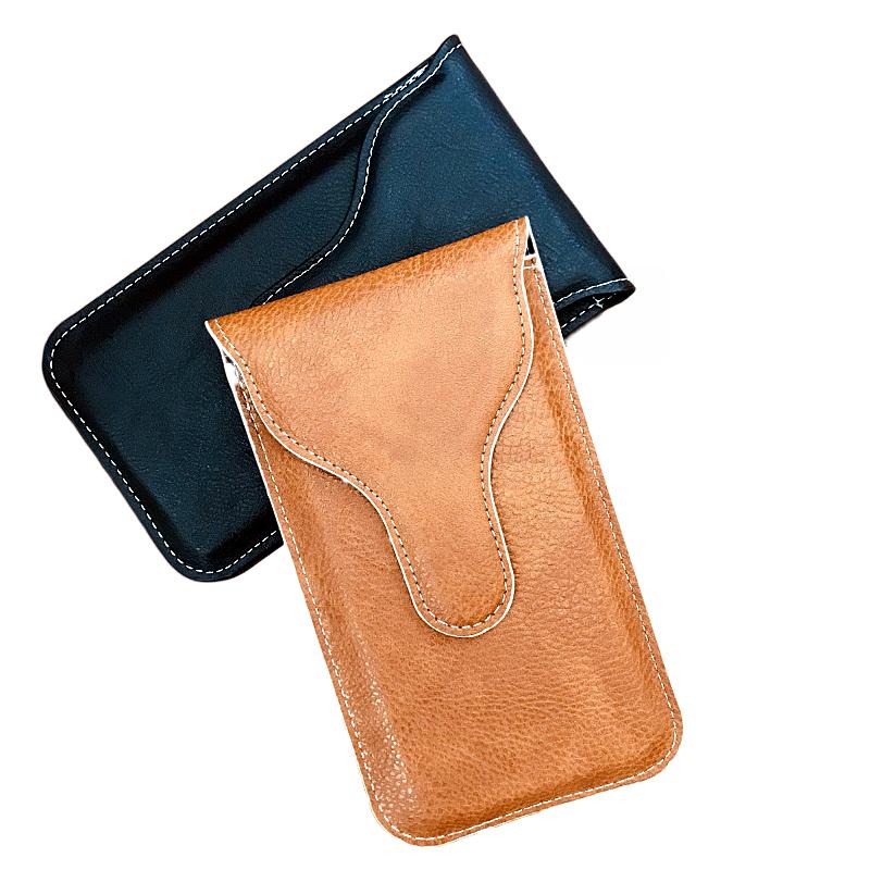 单层竖款手机腰包男士超薄穿皮带多功能电话通用牛皮质感软挂包包
