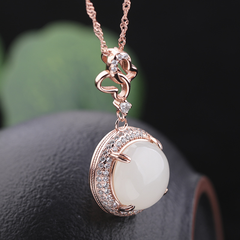 Natural Hetian jade pendant with certificate Jade Pendant 925 silver plated rose gold inlaid white jade necklace jewelry