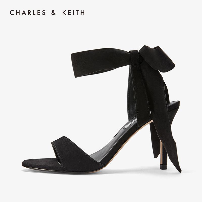 CHARLES&KEITH女鞋CK1-60360965一字带绒面蝴蝶结绑带高跟鞋凉鞋