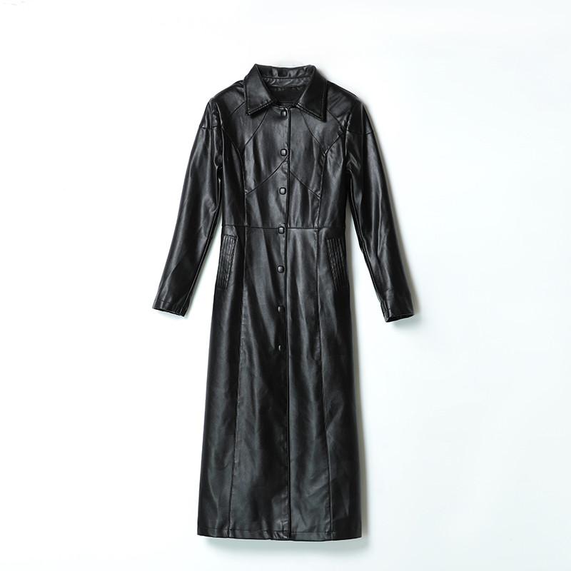 2020秋冬新款海宁正品皮衣女中长款过膝韩版气质修身皮风衣外套潮