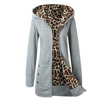 2020冬季女装新款ebay速卖通欧美大码外套加厚豹纹加绒连帽卫衣女