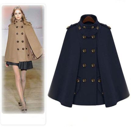 2020秋冬新款立领 欧美风范毛呢大衣双排扣斗篷 气质披肩蓝色外套