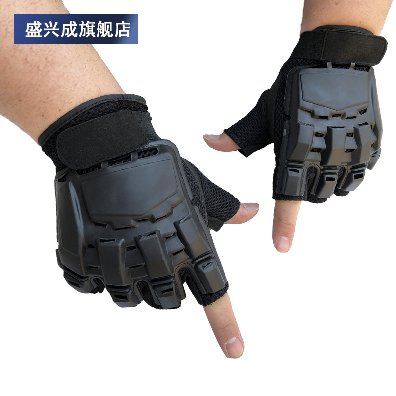 Mens half fingered tactical gloves mountaineering outdoor sports fitness protective shell gloves open fingered breathable riding gloves mens