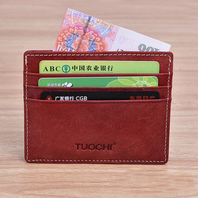 Leather Mens and womens thin Mini money bag pocket change purse retro simple card case card case credit bus card case