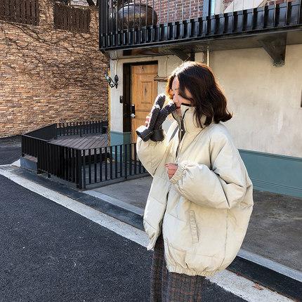 A7seven 加厚保暖立领面包服女冬季2019新款宽松学生棉衣外套棉服