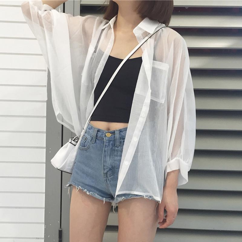 夏季2019新款宽松很仙的雪纺衫防晒衣外套女防晒衬衫开衫雪纺上衣