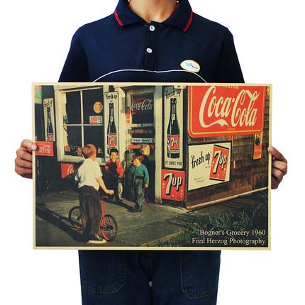 美国街头小店咖啡厅酒吧装饰画 怀旧复古牛皮纸海报 墙画画心