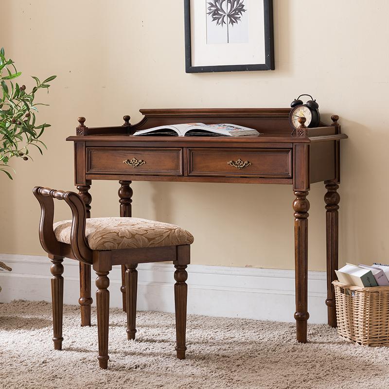 美式书桌实木书房家具简约卧室书桌写字台办公桌电脑桌子小户型