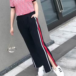 辣妈起义加大码女装条纹休闲裤2018夏季新款胖mm开叉休闲阔腿裤