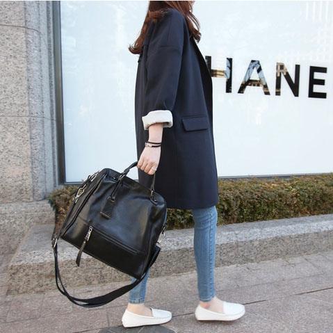 2019韩版黑色宽松西装大衣女中长款宽松显瘦外套百搭长西服女