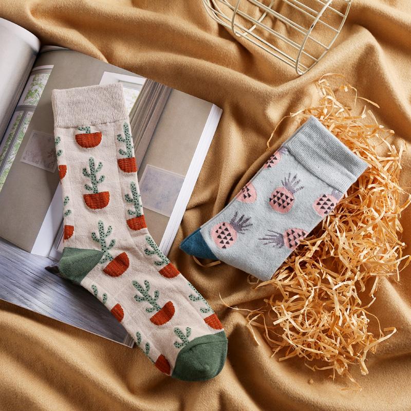 米吉诺拉原宿简约提花全棉情侣袜子文艺运动长袜植物系男女中筒袜