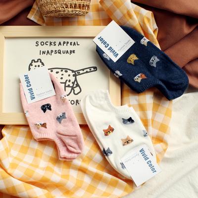 米吉诺拉创意精美刺绣纯棉船袜子