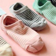 6双包邮 春夏运动隐形浅口女生船袜子日系条纹纯棉低帮透气女短袜