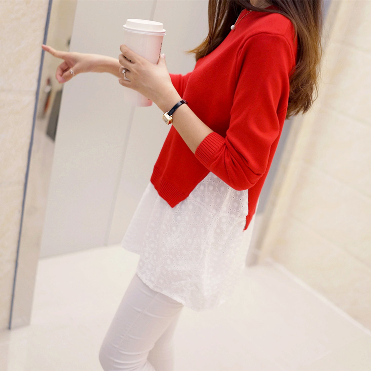 Autumn and winter womens new product Korean fake two piece lace bottomed T-Shirt Medium Length loose sweater womens coat