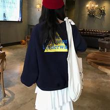 实拍 cec卫衣女宽松韩版潮加绒加厚上衣服(加绒250克)有小视频