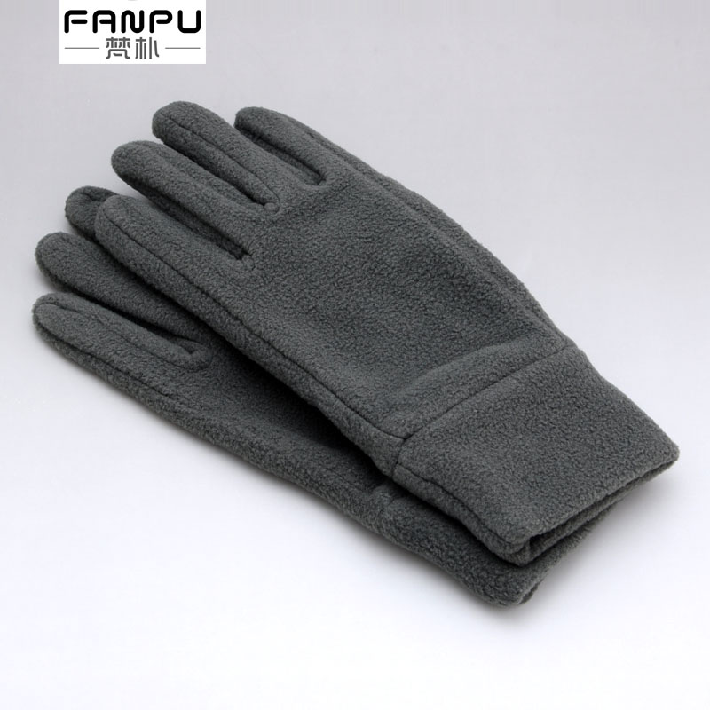 Fleece gloves for men, warm and cold proof in winter, plush for Korean students, thin couple in spring and autumn and winter, black Plush lady