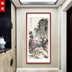 新中式玄关装饰画走廊过道竖版挂画客厅国画山水画背景墙聚财壁画