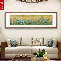 国画山水画现代中式客厅装饰画王希孟千里江山图书房靠山字画挂画