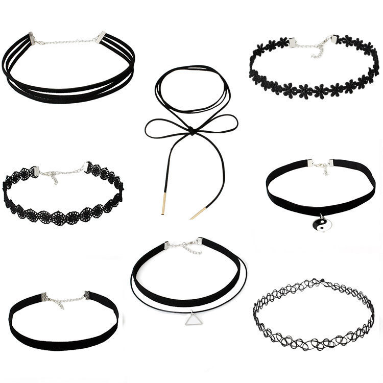 Gothic simple European and American Jewelry Choker collar collar chain neck chain suit combination Lace Necklace female