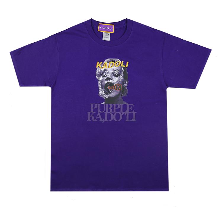 KDL卡多立2019 深紫色women印花个性复古潮流男女同款圆领短袖T恤