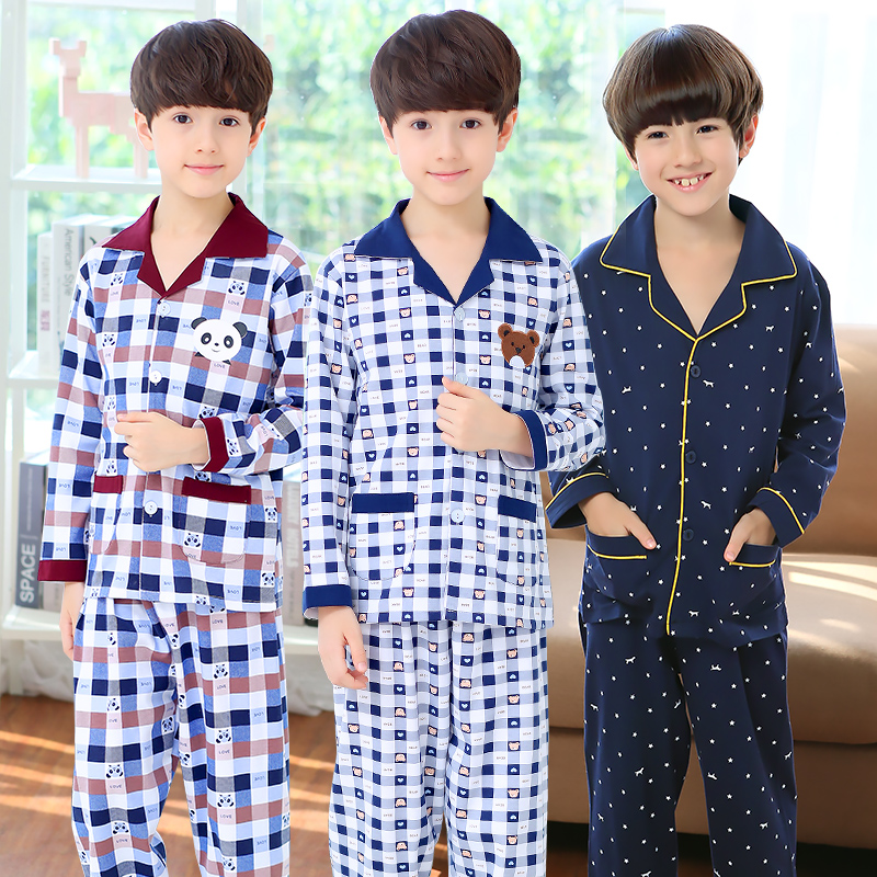 Childrens pajamas spring autumn long sleeve cotton suit baby boy cartoon little boy middle and big boy home wear boy