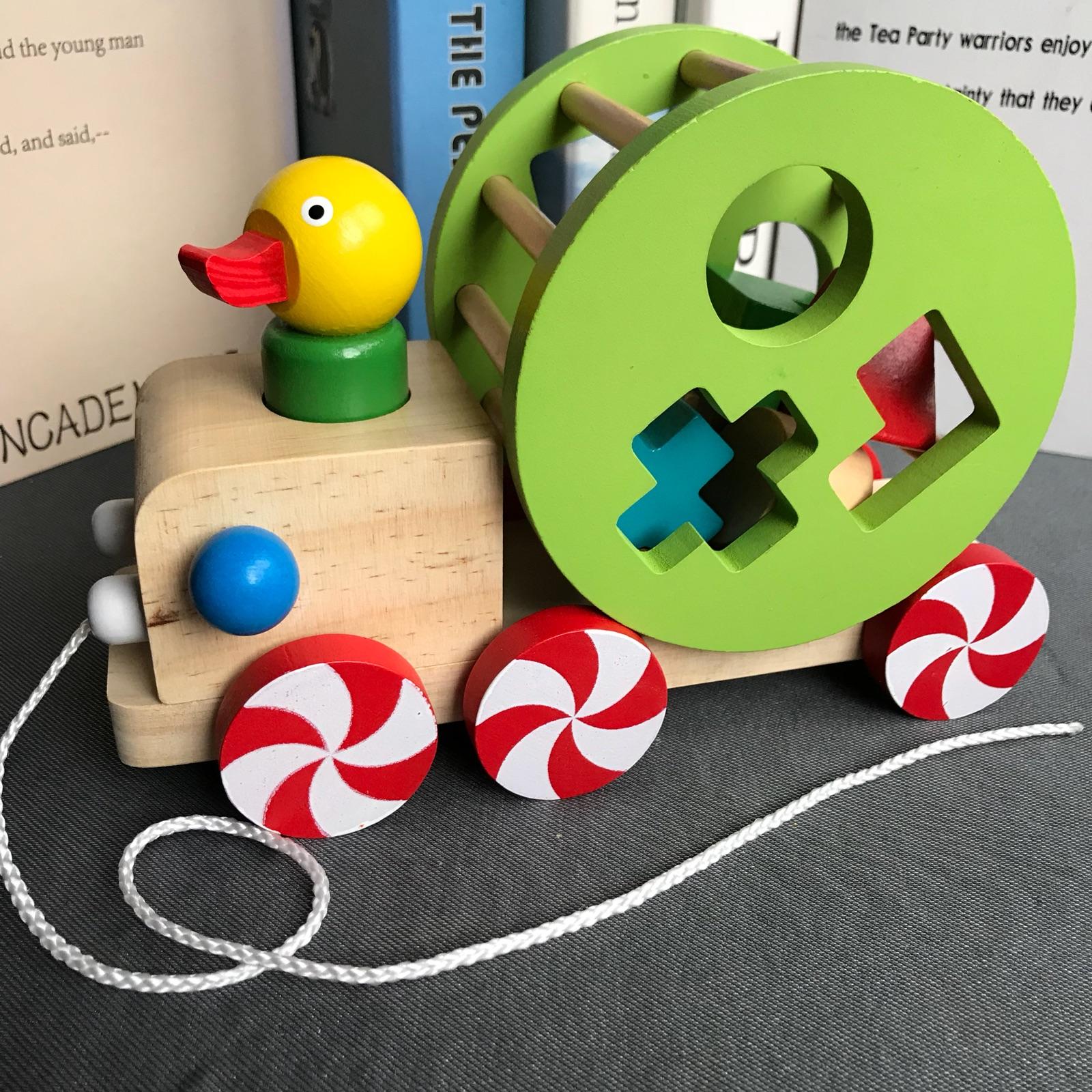 拖车玩具1-3岁木质智力拉绳礼物木