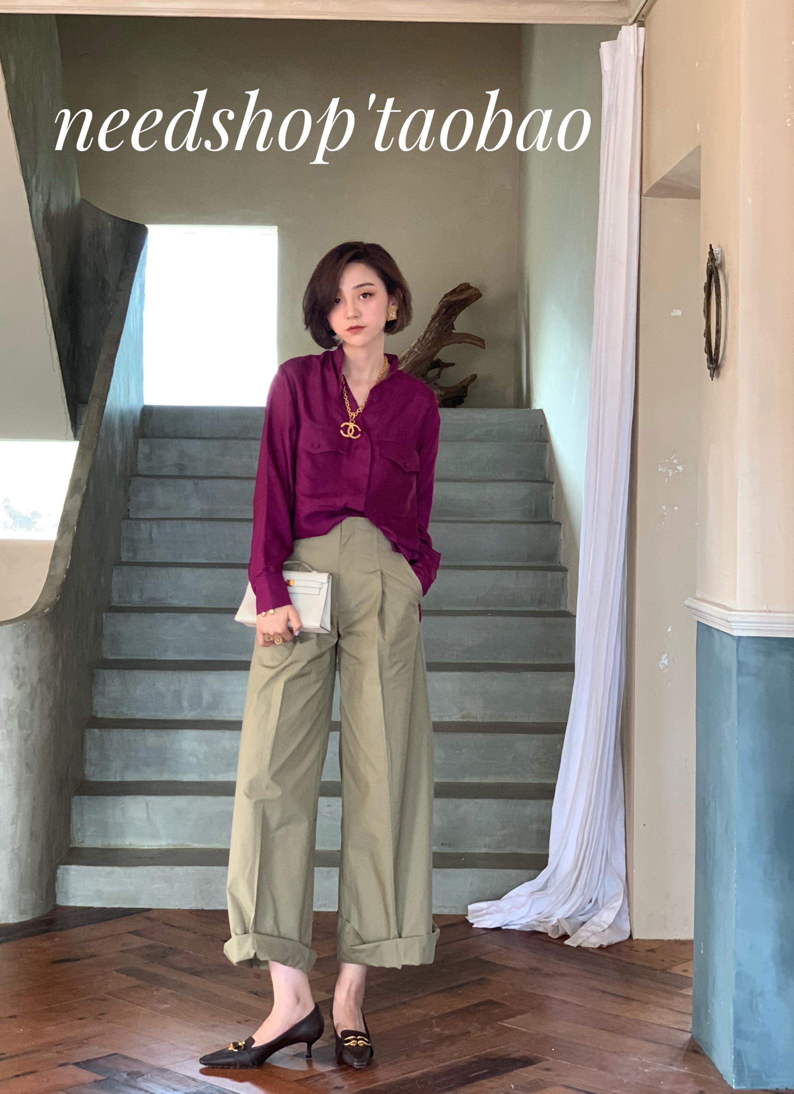 399.00元包邮NeeDshop12019秋季新款气质慵懒风紫色真丝立领宽松衬衫上衣女