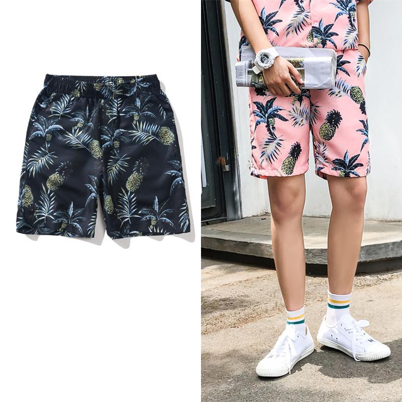 夏季菠萝印花夏威夷沙滩休闲短裤限4000张券